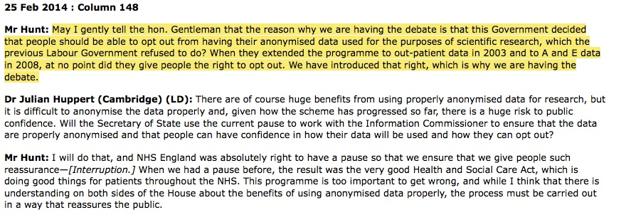 Jeremy Hunt on care.data opt out